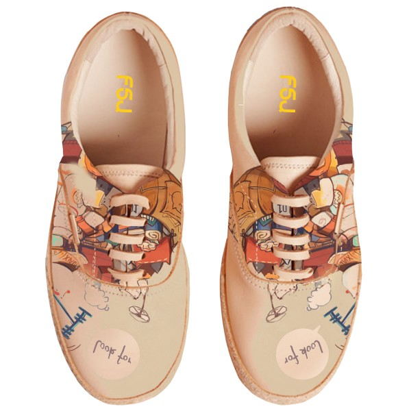 Women's Brown Cartoon Printed Slippers Lace Up Comfortable Flats image 3
