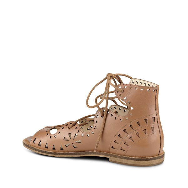 Brown Open Toe Flats Lace-up Sandals School Shoes image 3