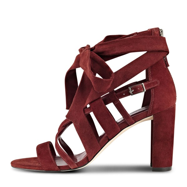 Women's Burgundy Hollow out Strappy Sandals image 3