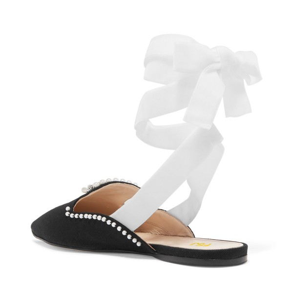 Black Pointy Toe Strappy Flats Rhinestone Mule Loafers for Women image 3