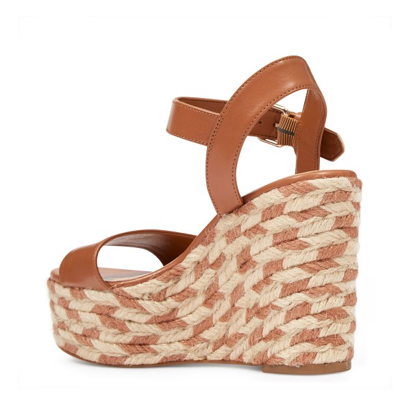 Tan Wedge Sandals Summer Platform Sandals for Women image 3