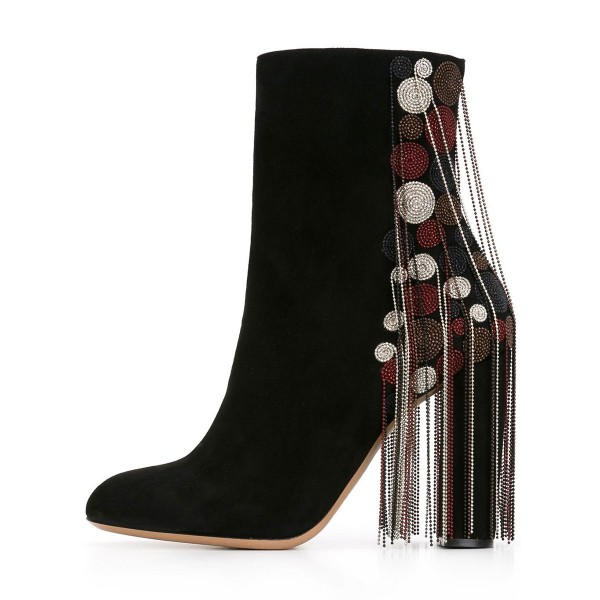 Black Fashion Boots Suede Chunky Heels with Bead Strings Fringe image 3