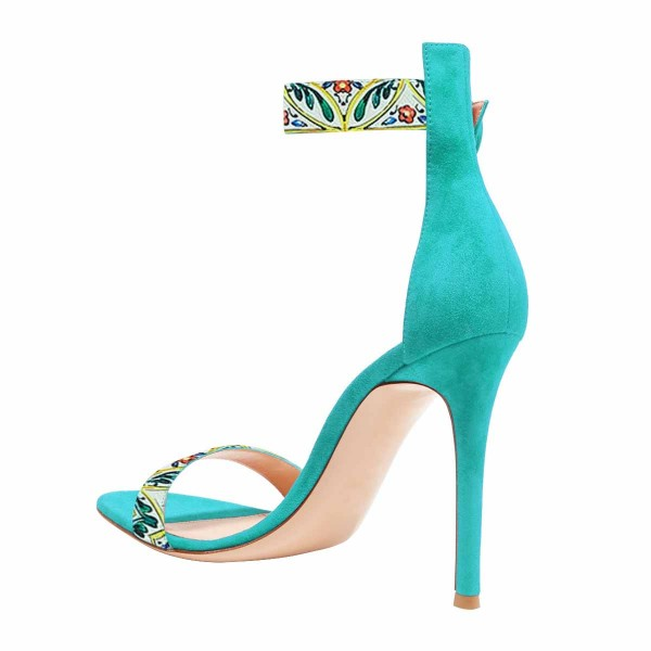 Women's Turquoise Floral Stiletto Heel Ankle Strap Sandals  image 3
