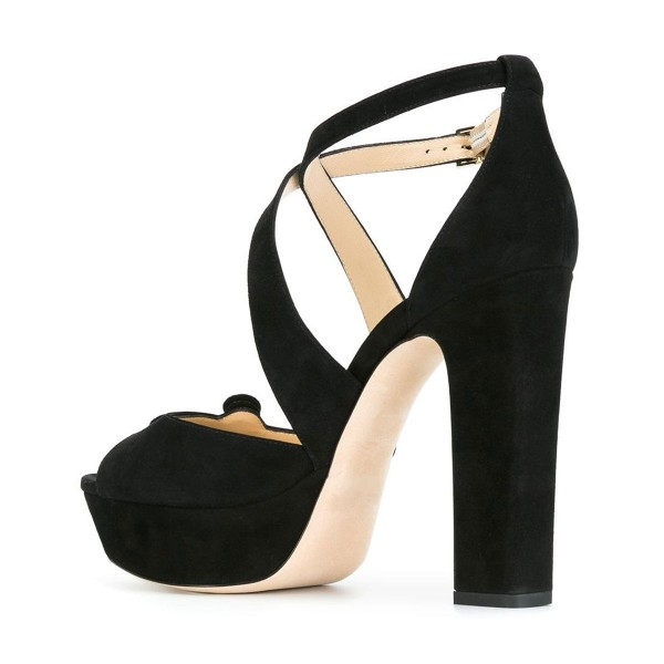 Suede Block Heel Sandals Black Peep Toe Platform High Heels Shoes image 3