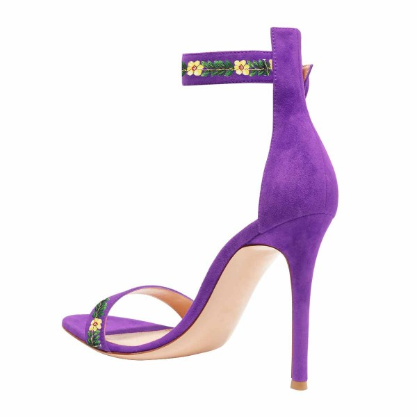Women's Purple Stiletto Heel Floral Ankle Strap Sandals  image 2