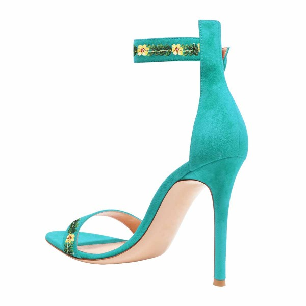 Women's Turquoise Stiletto Heel Floral Ankle Strap Sandals  image 3