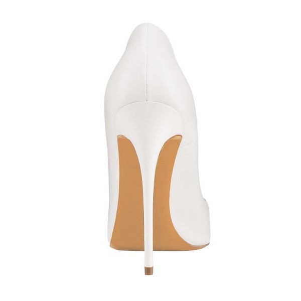 Women's White 4 Inch Heels Pointy Toe Pumps Stiletto Heels Bridal Shoes image 3