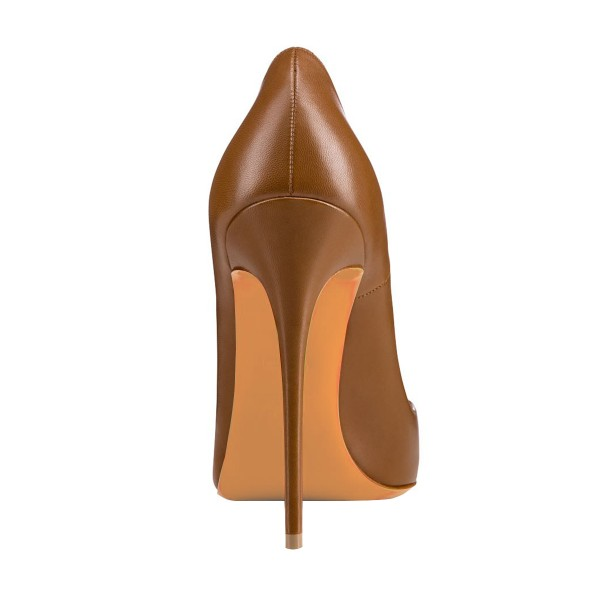 Women's Brown 4 Inch Heels Pointy Toe Pumps Stiletto Heels Shoes image 2