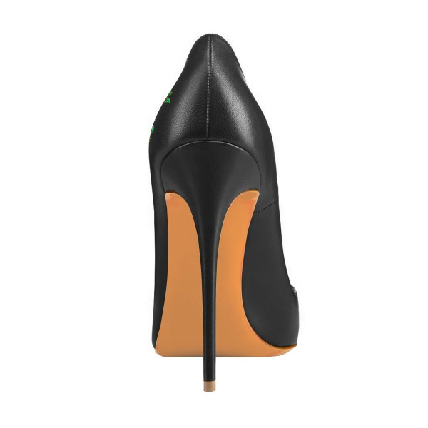 Women's Black Formal Printed Pointy Toe Pumps Stiletto Heels Shoes image 2