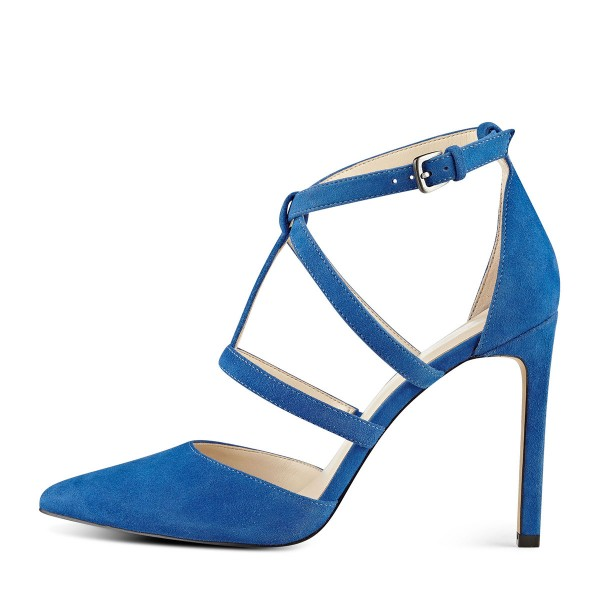 Cobalt Blue Shoes T Strap Suede Stiletto Heel Closed Toe Sandals image 2