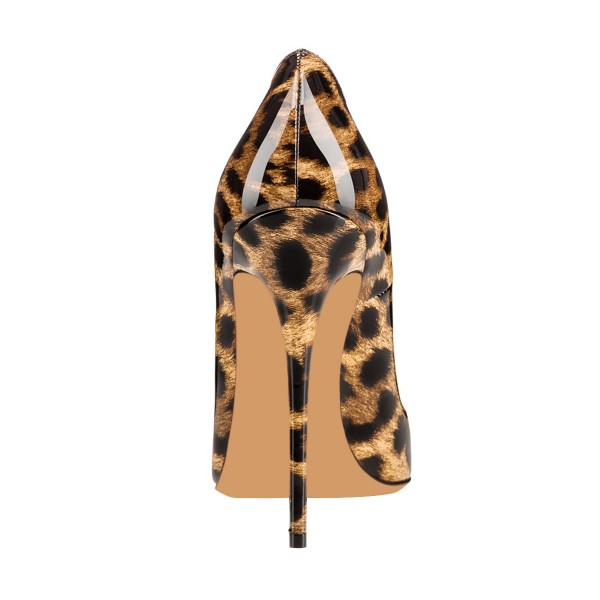 Women's Leopard Printed Heels 4 Inch High Heels Pumps Letter O image 3