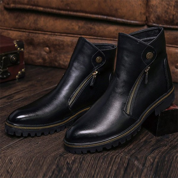 Black Fashion Motorcycle Boots Round Toe Flat Short Boots image 3