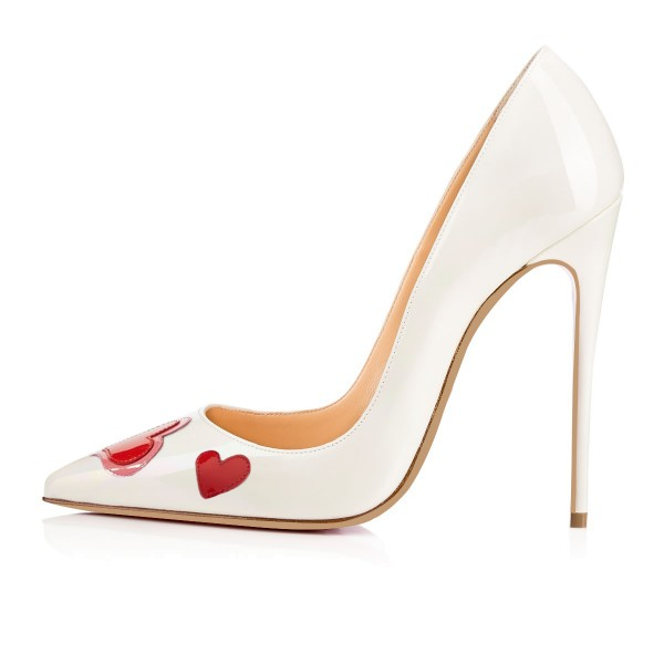 Women's White Stiletto Heels Pointy Toe Heart Shaped Patent Leather Pumps image 4