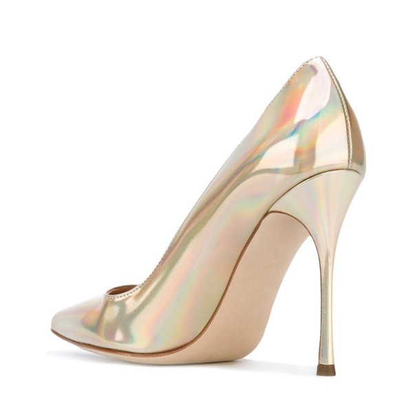 Gold Stiletto Heels Glossy Patent Leather Pointed Toe Office Heels image 3