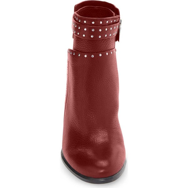Women's Red Silver Studs Decorated Ankle Chunky Heel Boots image 3