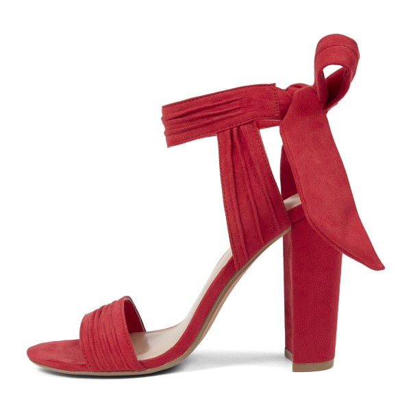 Coral Red Soft Suede Ankle Strappy Sandals image 4