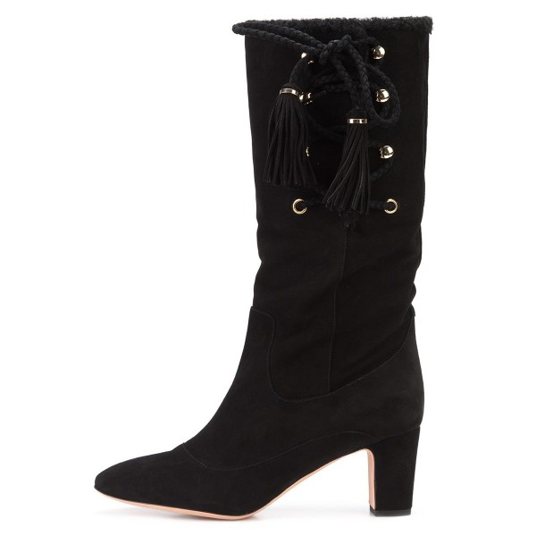 Black Chunky Heel Boots Suede Mid-calf Boots with Tassels image 4