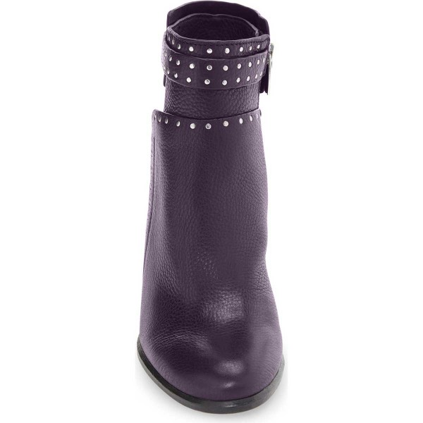 Purple Textured Vegan Boots Round Toe Chunky Heel Studs Shoes image 3
