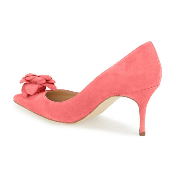 Pink Suede Shoes Pointy Toe Kitten Heel Pumps with Flower image 5