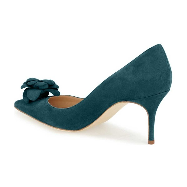 Teal Suede Shoes Pointy Toe Stiletto Heel Pumps with Flower image 4