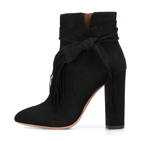 Black Chunky Heel Boots Suede Tassels Ankle Booties image 2