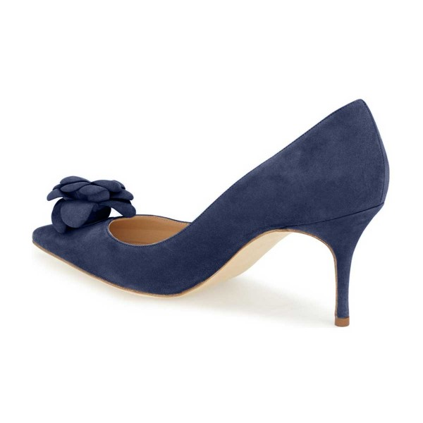 Navy Suede Shoes Kitten Heel Pointy Toe Flower Pumps for Women image 5