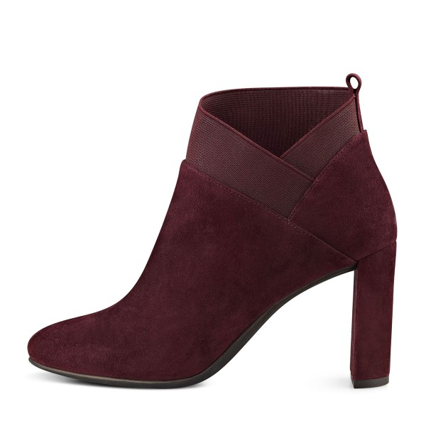 Burgundy Suede Boots Chunky Heel Fashion Short Boots US Size 3-15 image 2