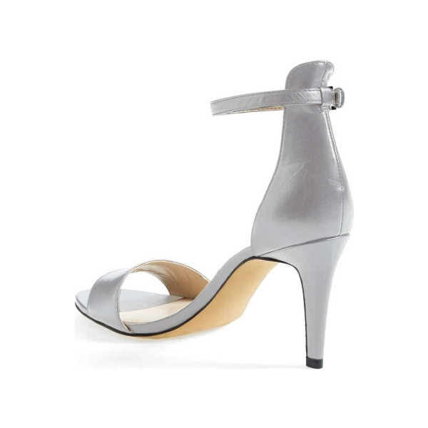 Silver Ankle Strap Sandals Open Toe Stiletto Heels for Women image 5