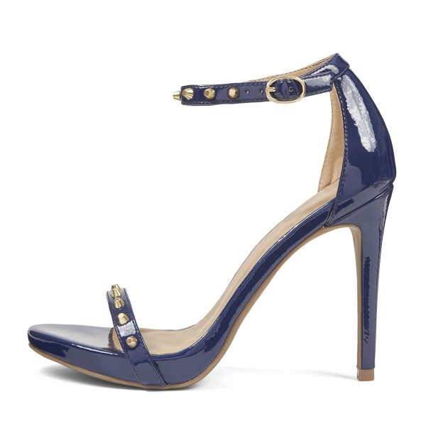 Navy Ankle Strap Sandals Stiletto Heels with Rivets image 3