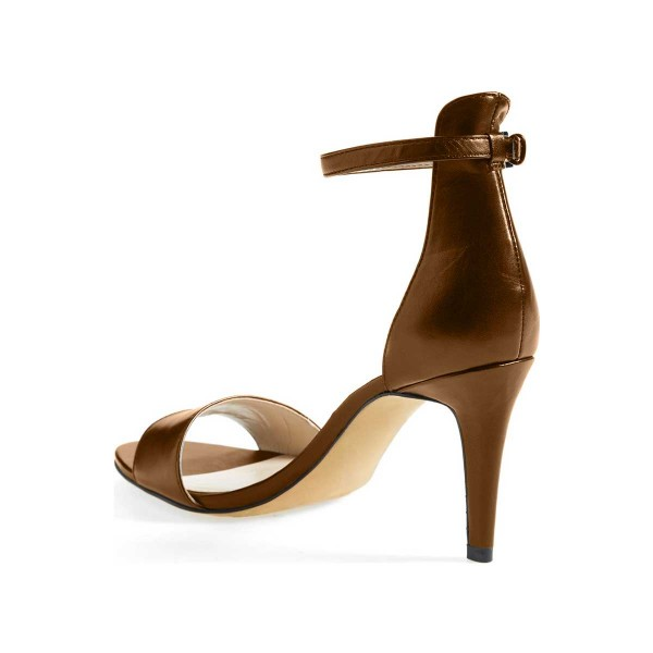 Dark Chocolate Ankle Strap Sandals Open Toe Office Heels image 2