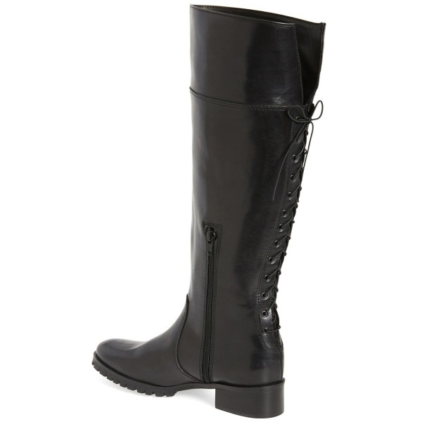 Black Comfortable Shoes Knee-high Jockey Boots image 2