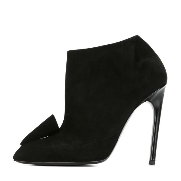 Black Short Boots Suede Pointy Toe Stiletto Heel Ankle Booties image 2