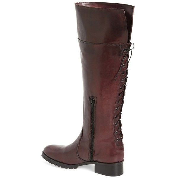 Dark Brown Fashion Boots Round Toe Flat Riding Boots image 2