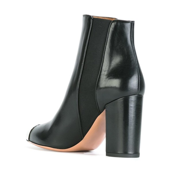 Black Women's Dress Boots Silver Metal Toe Chunky Heel Chelsea Boots image 3