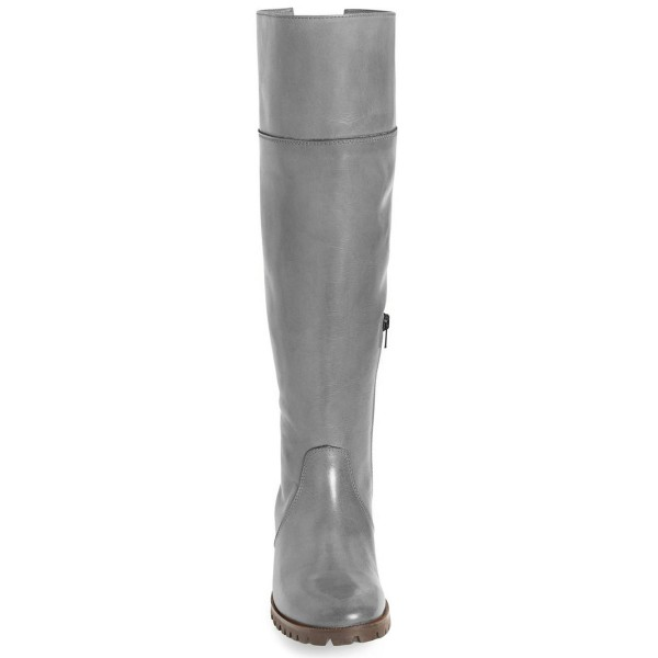 Grey Fashion Boots Round Toe Flat Knee-high Riding Boots image 3