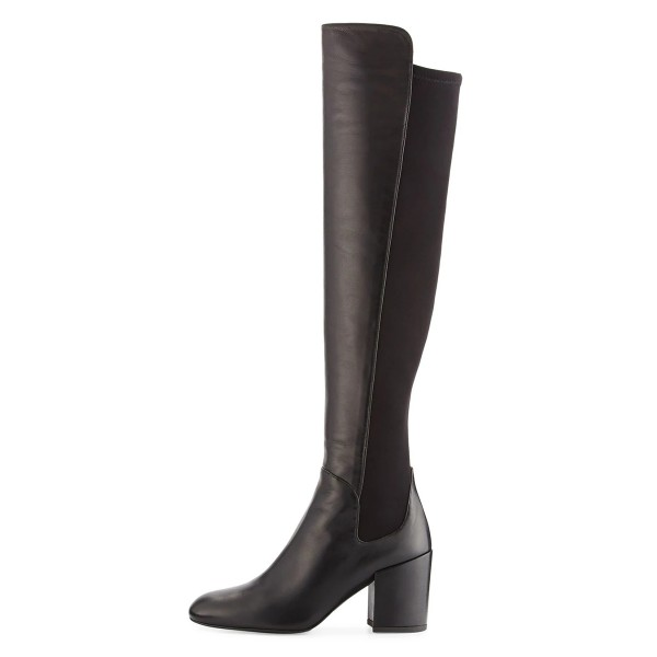 Black Square Toe Boots Block Heel Over-the-Knee Long Boots image 2