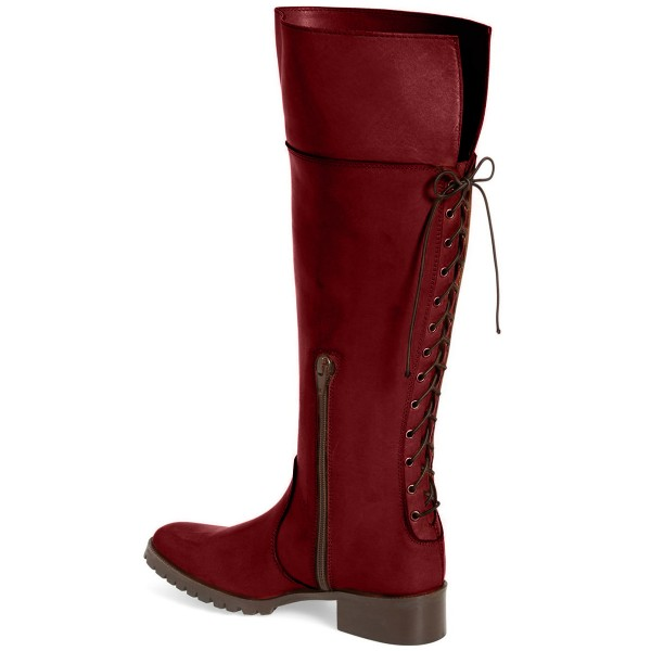 Burgundy Comfortable Shoes Round Toe Knee-high Boots  image 2