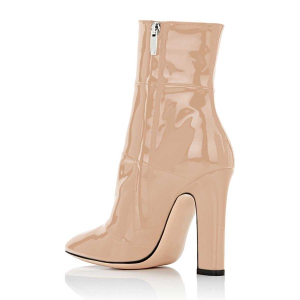 Women's Nude Chunky Heel Boots Pointy Toe Patent Leather Ankle Boots image 4