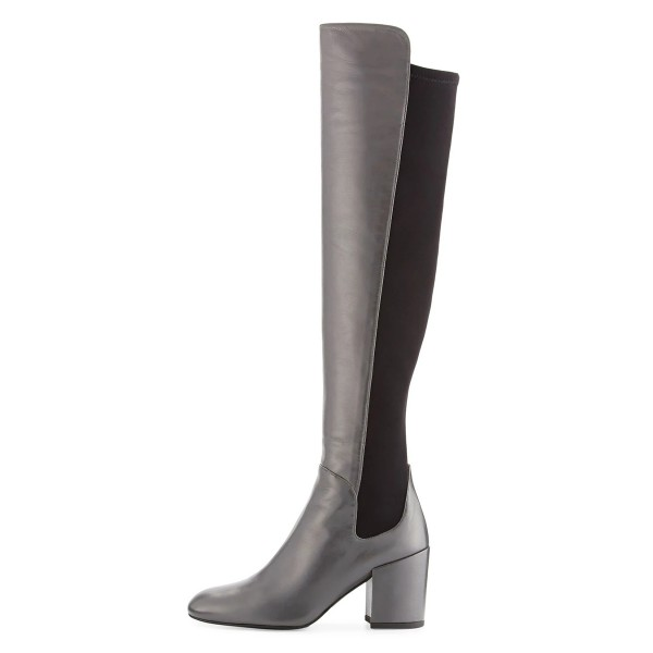 Dark Silver Long Boots Square Toe Over-the-knee Chunky Heels image 2