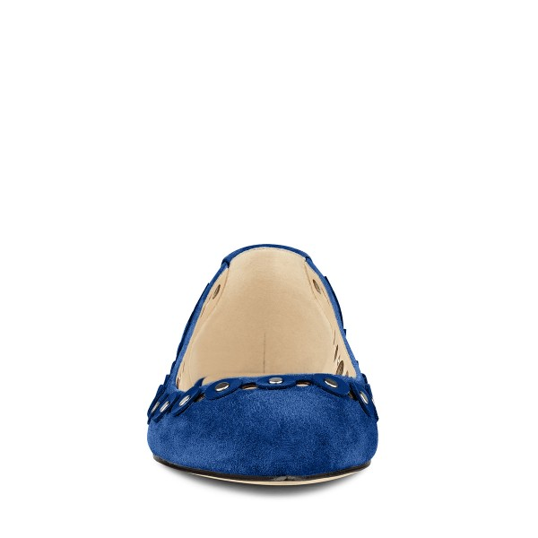 Cobalt Blue Shoes Suede Pointy Toe Flats Studs Shoes by FSJ image 2