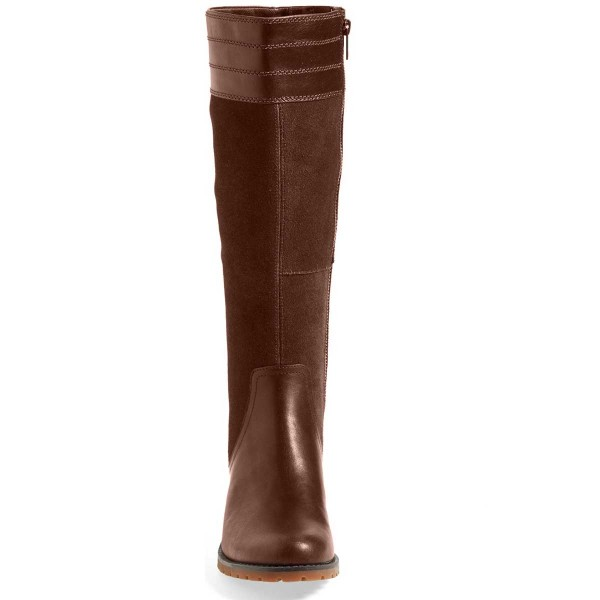 Brown Riding Boots Side Zipper Round Toe Low Heel Knee Boots image 2