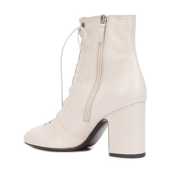 2019 Fall Ivory Chunky Heel Boots Lace up Round Toe Ankle Boots image 2