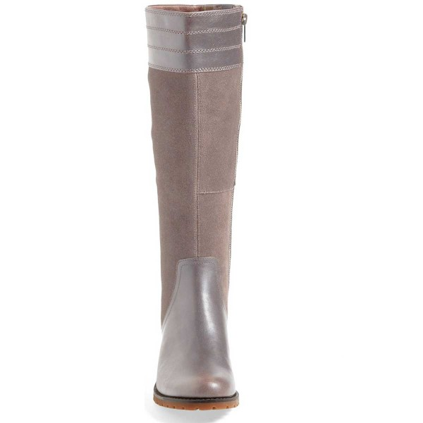 Grey Knee Boots Round Toe Comfortable Riding Boots by FSJ image 3