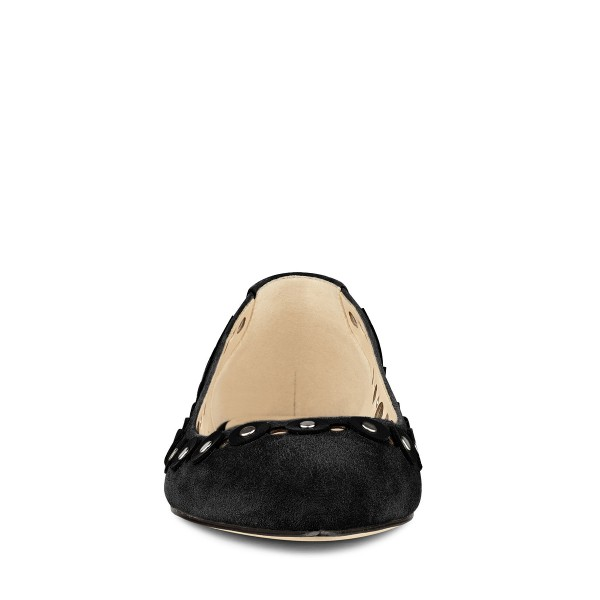 Black Studs Embellishment Hollow out Pointy Toe Comfortable Flats image 2