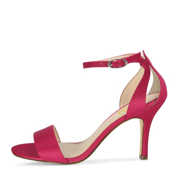 Red Satin Ankle Strap Dress Shoes Open Toe Stiletto Heels For Prom  image 2