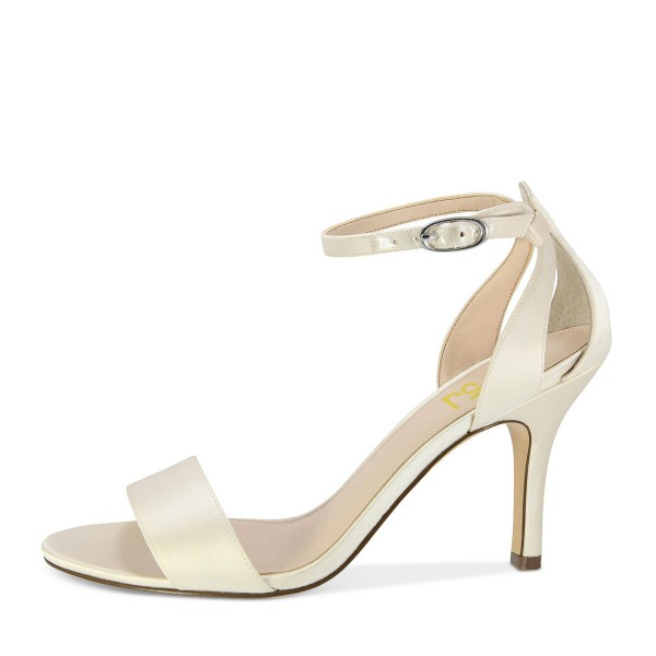 Beige Satin Stiletto Heels Open Toe Ankle Strap Sandals for Wedding image 2