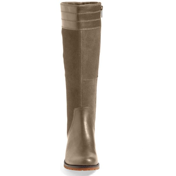 Green Riding Boots Side Zipper Round Toe Low Heel Knee Boots image 3