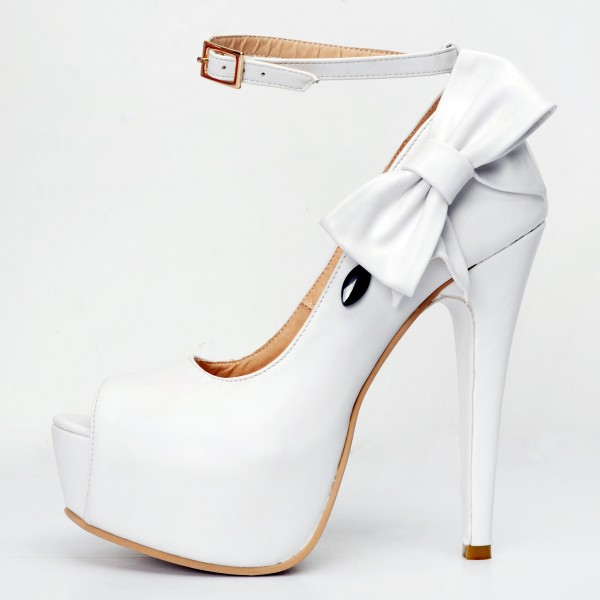 White Ankle Strap Heels Peep Toe Platform Pumps with Bow image 4