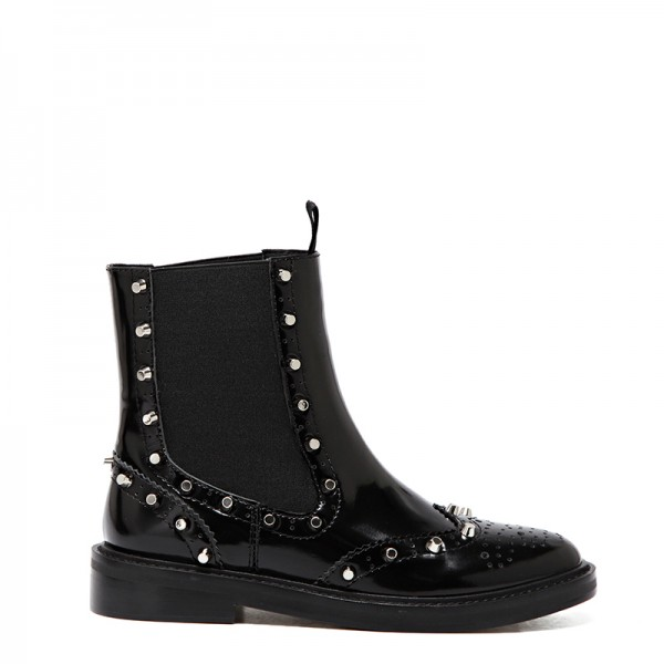 Black Wingtip Boots Patent Leather Round Toe Studs Chelsea Boots image 2