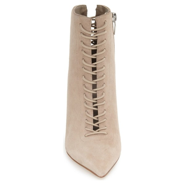 Beige Lace up Boots Pointy Toe Stiletto Heel Ankle Booties image 2